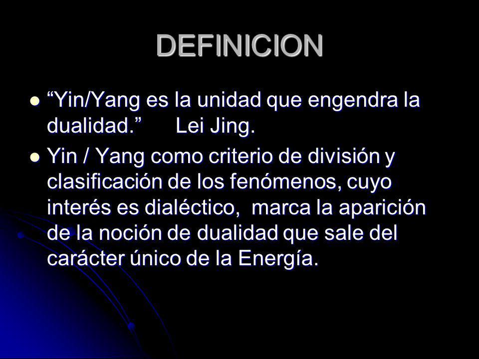 DEFINICION Yin/Yang es la unidad que engendra la dualidad. Lei Jing. Yin/Yang es la unidad que engendra la dualidad. Lei Jing. Yin / Yang como criteri