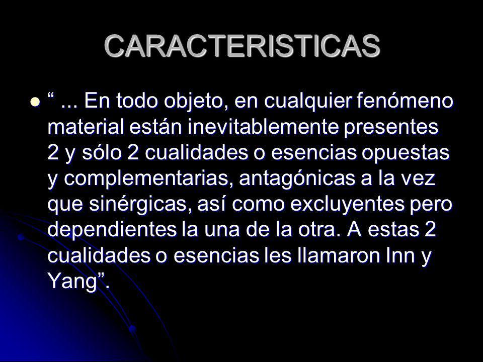 CARACTERISTICAS... En todo objeto, en cualquier fenómeno material están inevitablemente presentes 2 y sólo 2 cualidades o esencias opuestas y compleme