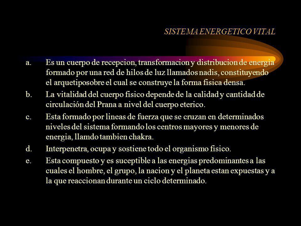 SISTEMA ENERGETICO VITAL a.Es un cuerpo de recepcion, transformacion y distribucion de energia formado por una red de hilos de luz llamados nadis, con