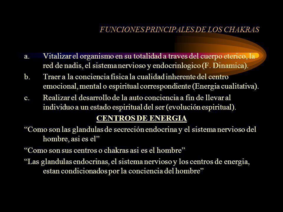FUNCIONES PRINCIPALES DE LOS CHAKRAS a.Vitalizar el organismo en su totalidad a traves del cuerpo eterico, la red de nadis, el sistema nervioso y endo