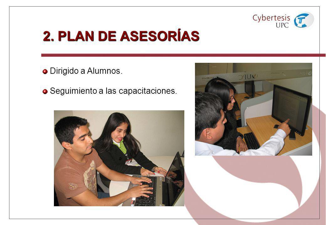 2. PLAN DE ASESORÍAS Dirigido a Alumnos. Seguimiento a las capacitaciones.