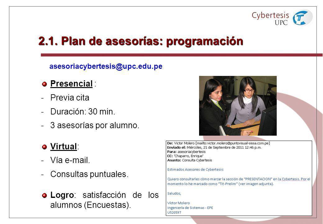 2.1. Plan de asesorías: programación Presencial Presencial : - -Previa cita - -Duración: 30 min. - -3 asesorías por alumno. Virtual Virtual: - -Vía e-