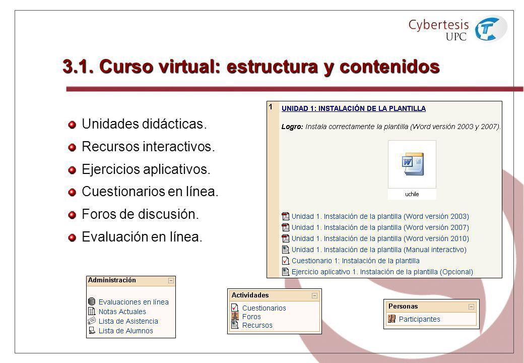 3.1. Curso virtual: estructura y contenidos Unidades didácticas. Recursos interactivos. Ejercicios aplicativos. Cuestionarios en línea. Foros de discu