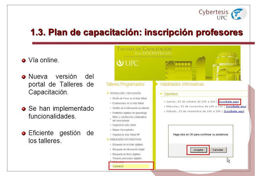 1.3. Plan de capacitación: inscripción profesores Vía online. Nueva versión del portal de Talleres de Capacitación. Se han implementado funcionalidade