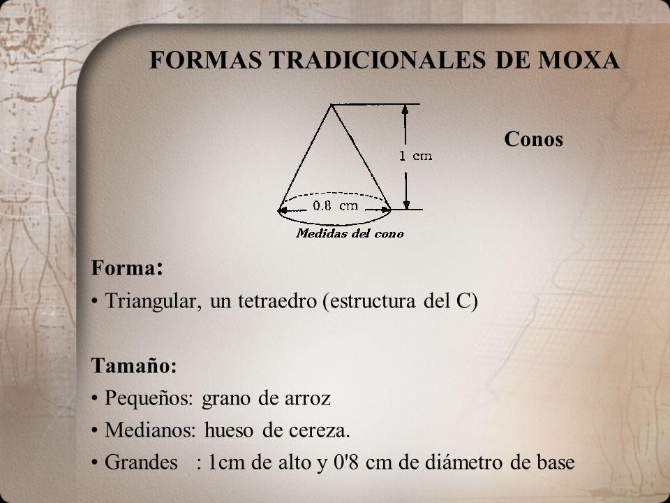FORMAS TRADICIONALES DE MOXA Forma : Triangular, un tetraedro (estructura del C) Tamaño: Pequeños: grano de arroz Medianos: hueso de cereza. Grandes :