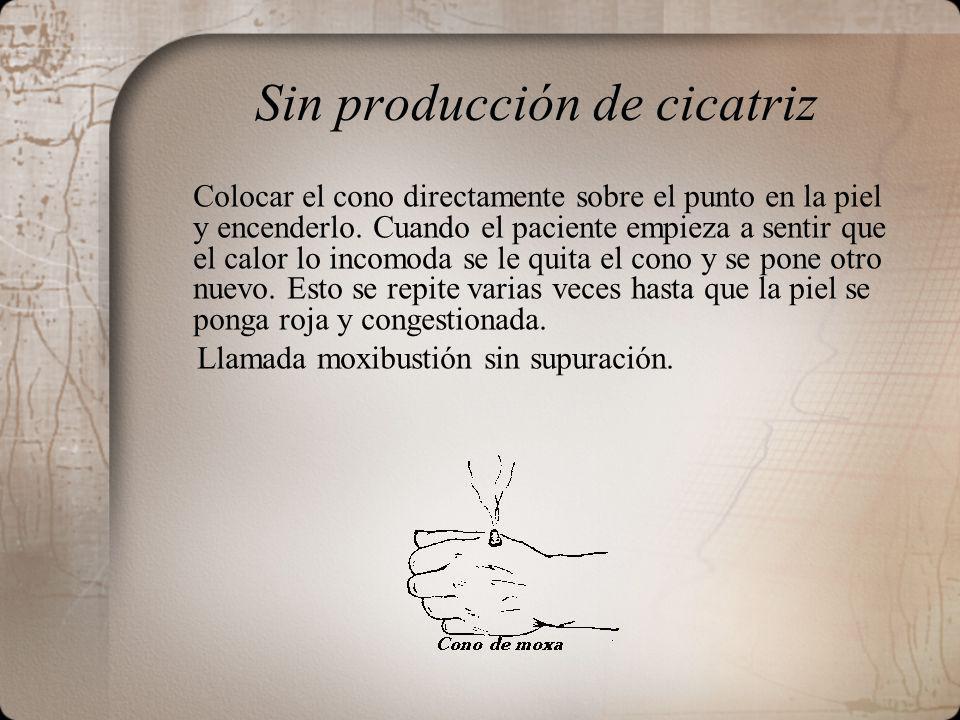 Sin producción de cicatriz Colocar el cono directamente sobre el punto en la piel y encenderlo.