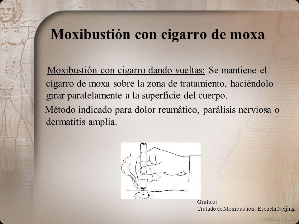 Moxibustión con cigarro de moxa Moxibustión con cigarro dando vueltas: Se mantiene el cigarro de moxa sobre la zona de tratamiento, haciéndolo girar paralelamente a la superficie del cuerpo.