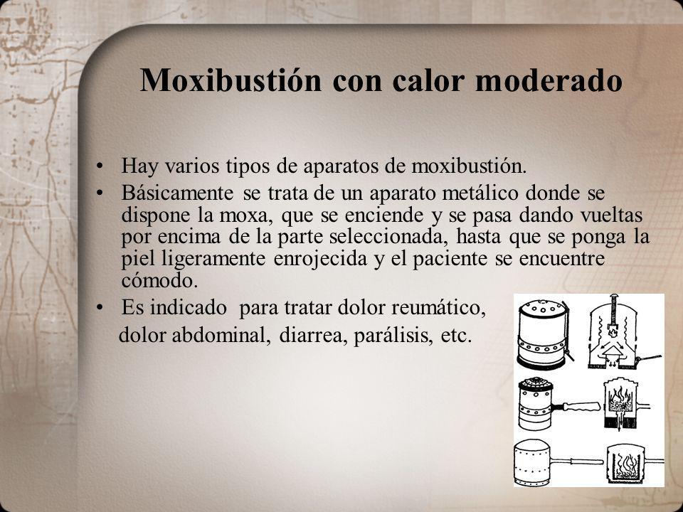 Moxibustión con calor moderado Hay varios tipos de aparatos de moxibustión. Básicamente se trata de un aparato metálico donde se dispone la moxa, que
