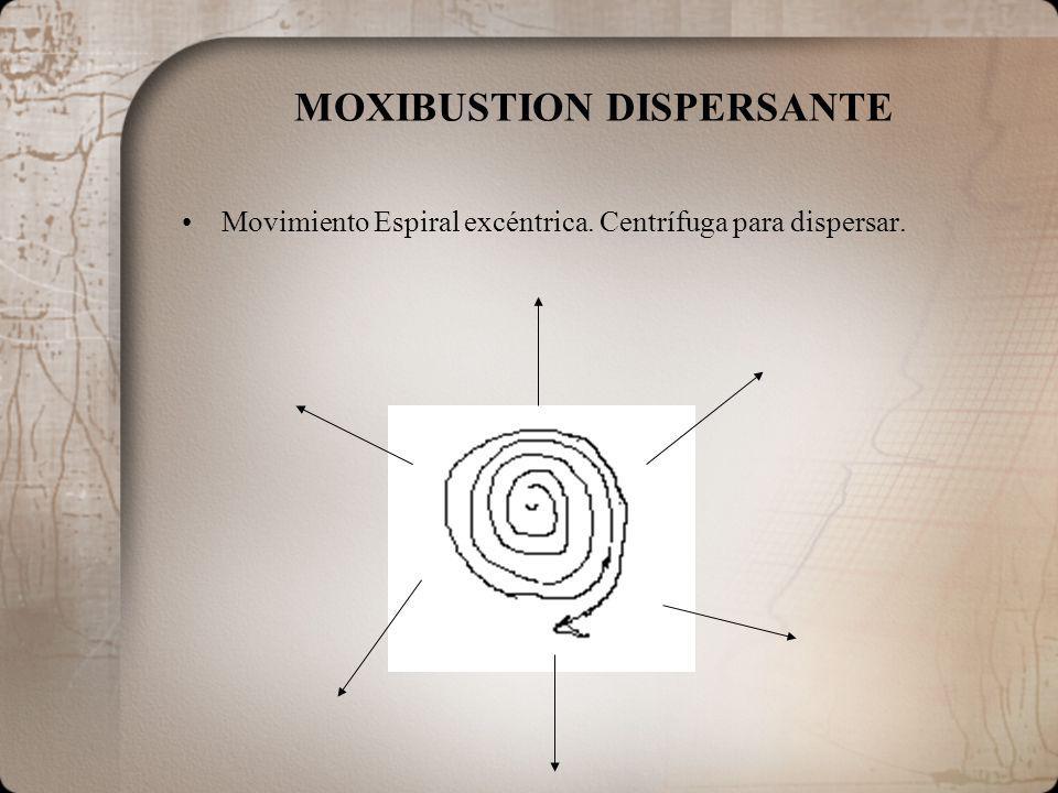 MOXIBUSTION DISPERSANTE Movimiento Espiral excéntrica. Centrífuga para dispersar.