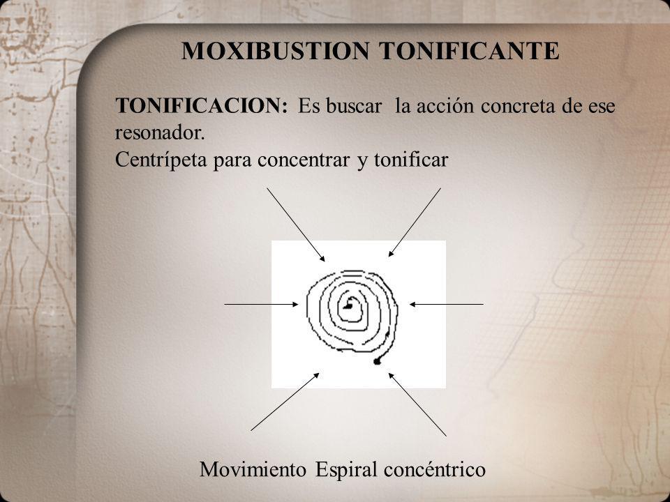 MOXIBUSTION TONIFICANTE Movimiento Espiral concéntrico TONIFICACION: Es buscar la acción concreta de ese resonador. Centrípeta para concentrar y tonif