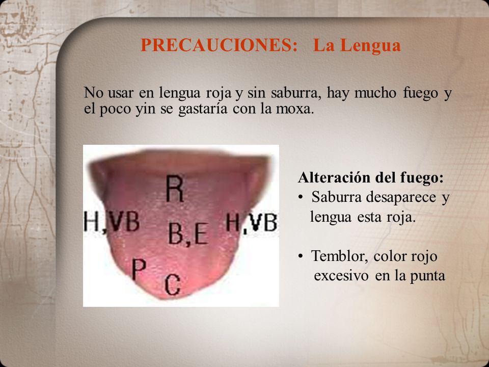 PRECAUCIONES: La Lengua Alteración del fuego: Saburra desaparece y lengua esta roja. Temblor, color rojo excesivo en la punta No usar en lengua roja y