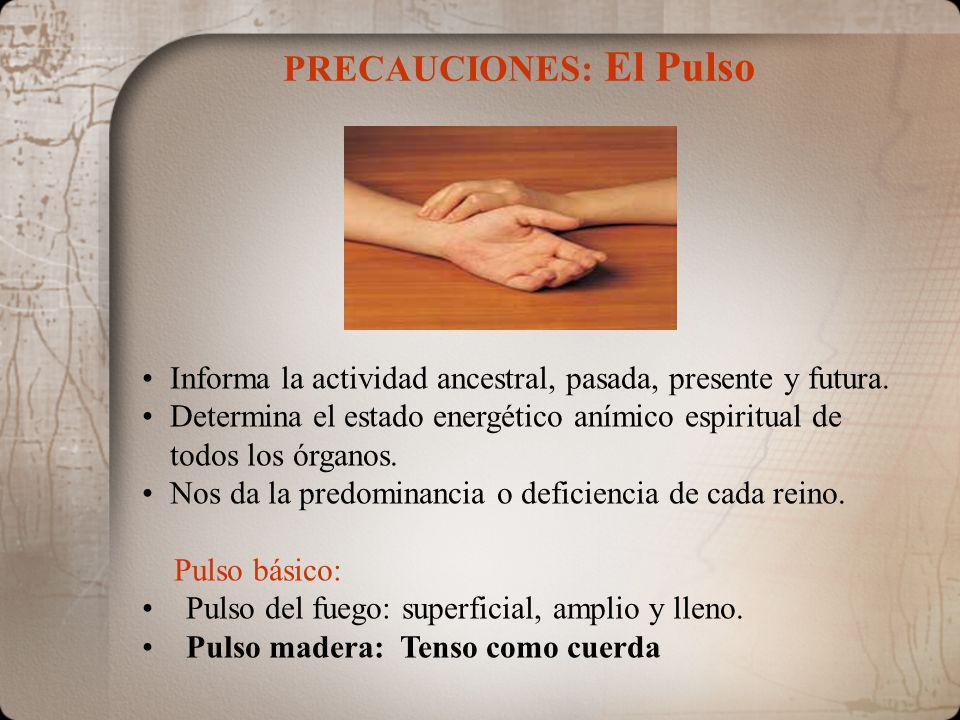 PRECAUCIONES: El Pulso Informa la actividad ancestral, pasada, presente y futura. Determina el estado energético anímico espiritual de todos los órgan