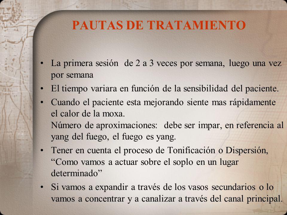 PAUTAS DE TRATAMIENTO La primera sesión de 2 a 3 veces por semana, luego una vez por semana El tiempo variara en función de la sensibilidad del paciente.