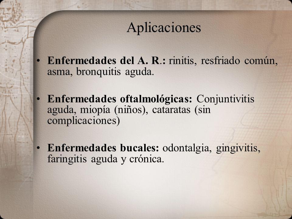 Aplicaciones Enfermedades del A. R.: rinitis, resfriado común, asma, bronquitis aguda. Enfermedades oftalmológicas: Conjuntivitis aguda, miopía (niños