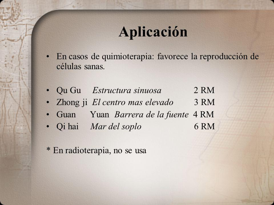 Aplicación En casos de quimioterapia: favorece la reproducción de células sanas. Qu Gu Estructura sinuosa 2 RM Zhong ji El centro mas elevado 3 RM Gua
