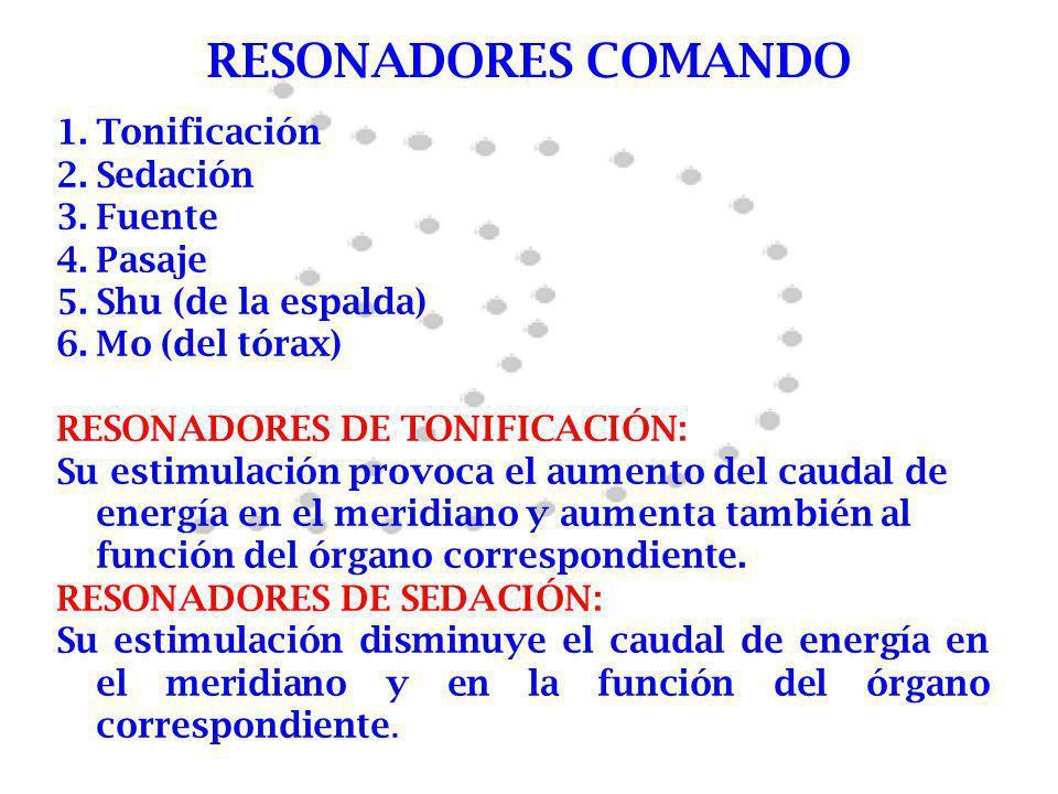 RESONADORES COMANDO 1.Tonificación 2.Sedación 3.Fuente 4.Pasaje 5.Shu (de la espalda) 6.Mo (del tórax) RESONADORES DE TONIFICACIÓN: Su estimulación pr