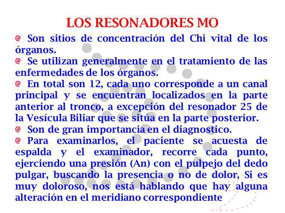 LOS RESONADORES MO Son sitios de concentración del Chi vital de los órganos. Se utilizan generalmente en el tratamiento de las enfermedades de los órg