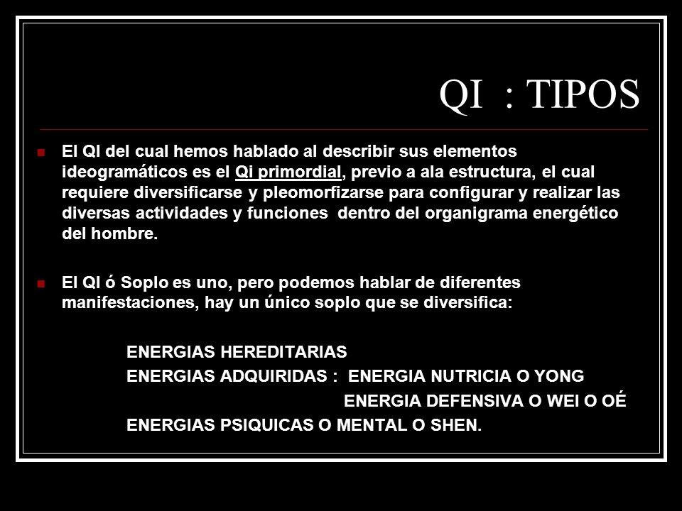 QI : TIPOS El QI del cual hemos hablado al describir sus elementos ideogramáticos es el Qi primordial, previo a ala estructura, el cual requiere diver