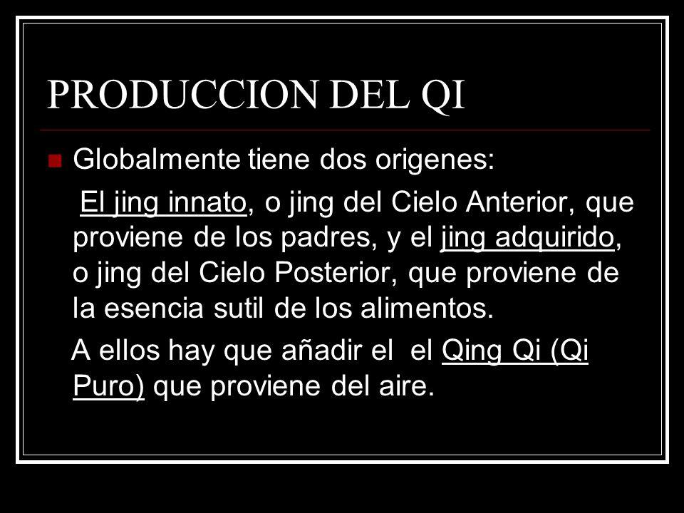 PRODUCCION DEL QI Quedan implicados en su producción varios Órganos: Los Riñones, almacenan el Jing innato.