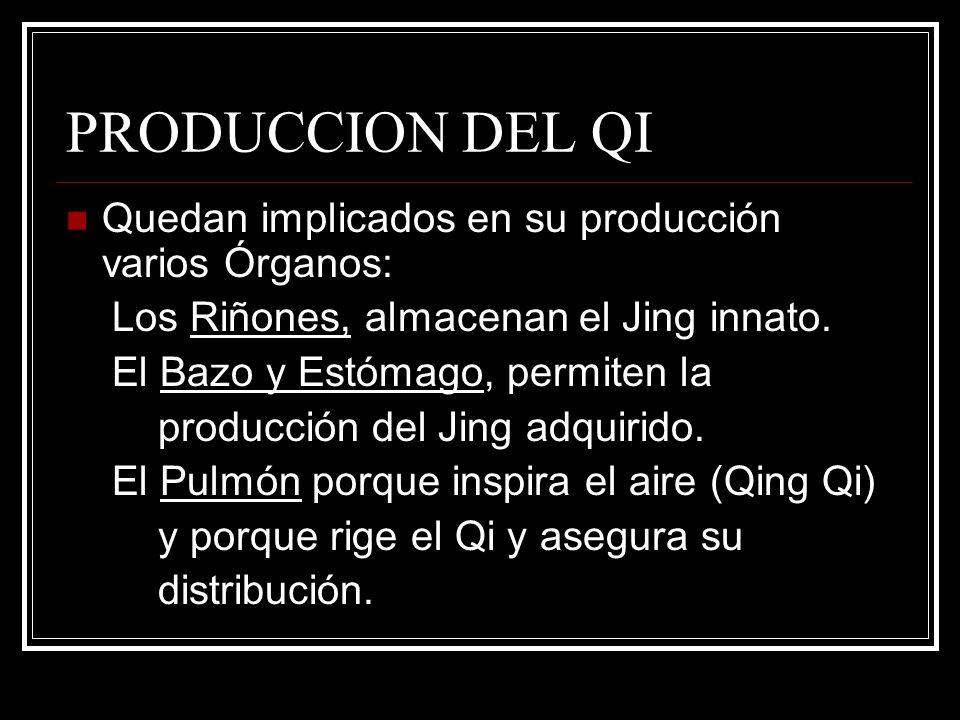PRODUCCION DEL QI Quedan implicados en su producción varios Órganos: Los Riñones, almacenan el Jing innato. El Bazo y Estómago, permiten la producción