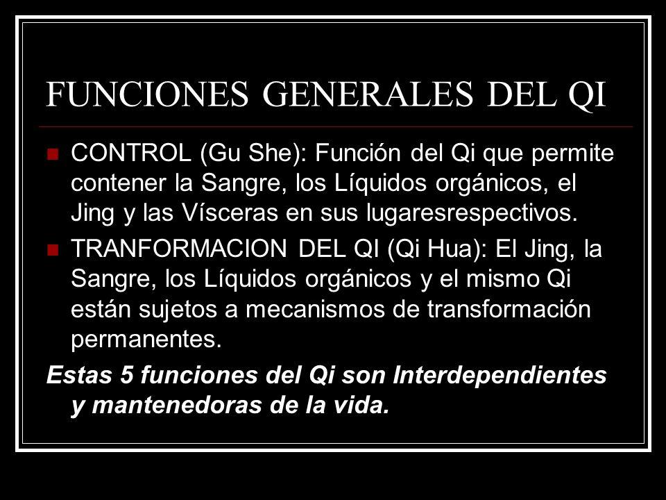 FUNCIONES GENERALES DEL QI CONTROL (Gu She): Función del Qi que permite contener la Sangre, los Líquidos orgánicos, el Jing y las Vísceras en sus luga