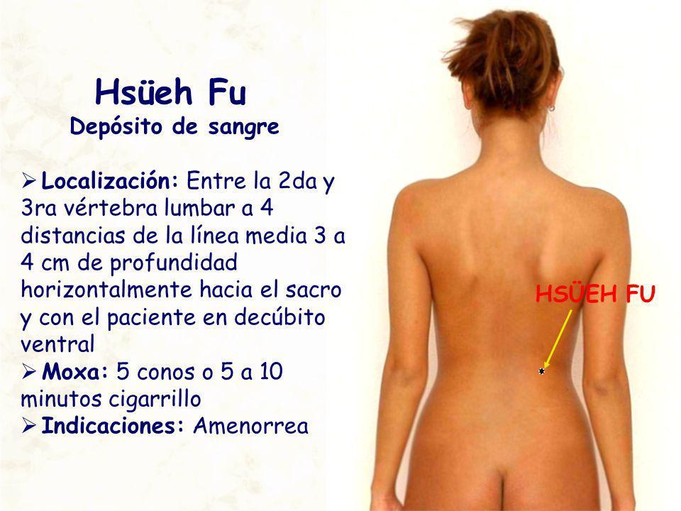 HSÜEH FU Hsüeh Fu Depósito de sangre Localización: Entre la 2da y 3ra vértebra lumbar a 4 distancias de la línea media 3 a 4 cm de profundidad horizon
