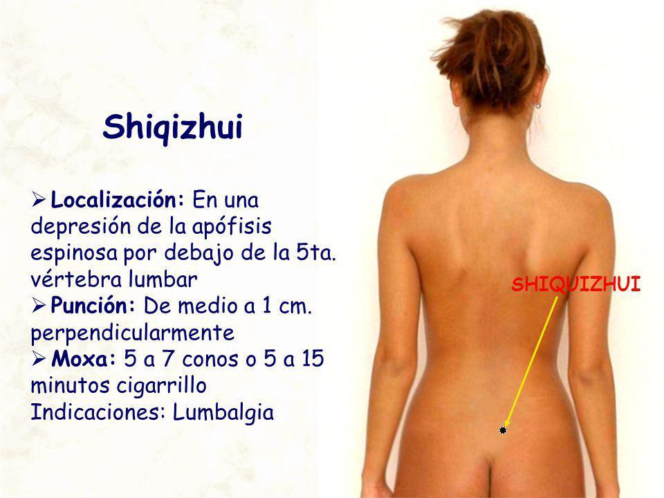 SHIQUIZHUI Shiqizhui Localización: En una depresión de la apófisis espinosa por debajo de la 5ta. vértebra lumbar Punción: De medio a 1 cm. perpendicu