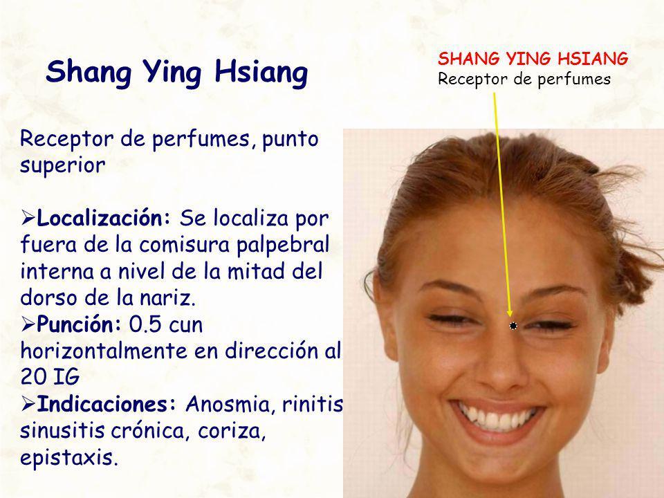 Shang Ying Hsiang Receptor de perfumes, punto superior Localización: Se localiza por fuera de la comisura palpebral interna a nivel de la mitad del do
