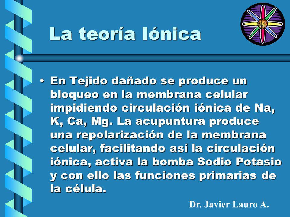 La teoría Iónica En Tejido dañado se produce un bloqueo en la membrana celular impidiendo circulación iónica de Na, K, Ca, Mg.