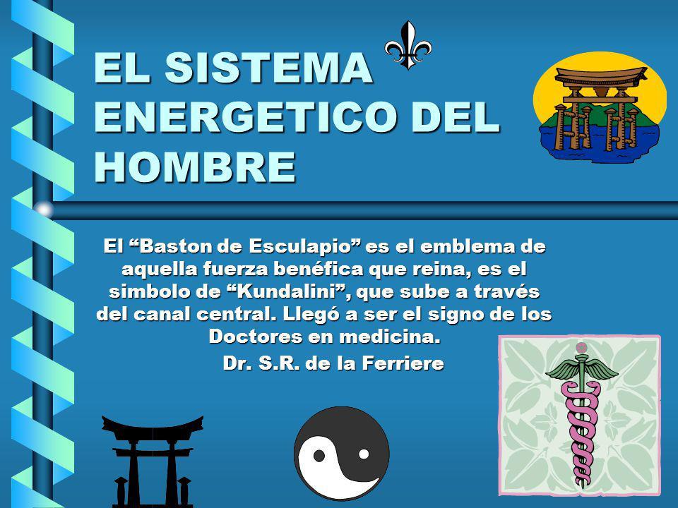 EL SISTEMA ENERGETICO DEL HOMBRE El Baston de Esculapio es el emblema de aquella fuerza benéfica que reina, es el simbolo de Kundalini, que sube a través del canal central.