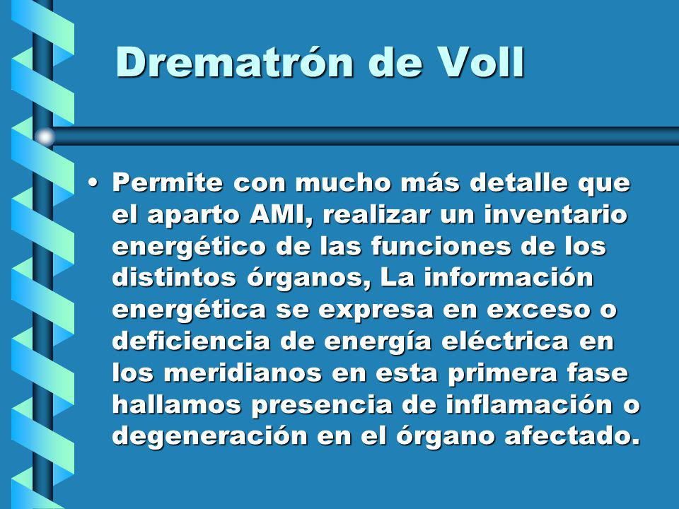 Drematrón de Voll Permite con mucho más detalle que el aparto AMI, realizar un inventario energético de las funciones de los distintos órganos, La información energética se expresa en exceso o deficiencia de energía eléctrica en los meridianos en esta primera fase hallamos presencia de inflamación o degeneración en el órgano afectado.Permite con mucho más detalle que el aparto AMI, realizar un inventario energético de las funciones de los distintos órganos, La información energética se expresa en exceso o deficiencia de energía eléctrica en los meridianos en esta primera fase hallamos presencia de inflamación o degeneración en el órgano afectado.