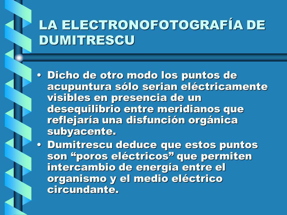 LA ELECTRONOFOTOGRAFÍA DE DUMITRESCU Dicho de otro modo los puntos de acupuntura sólo serian eléctricamente visibles en presencia de un desequilibrio entre meridianos que reflejaría una disfunción orgánica subyacente.Dicho de otro modo los puntos de acupuntura sólo serian eléctricamente visibles en presencia de un desequilibrio entre meridianos que reflejaría una disfunción orgánica subyacente.