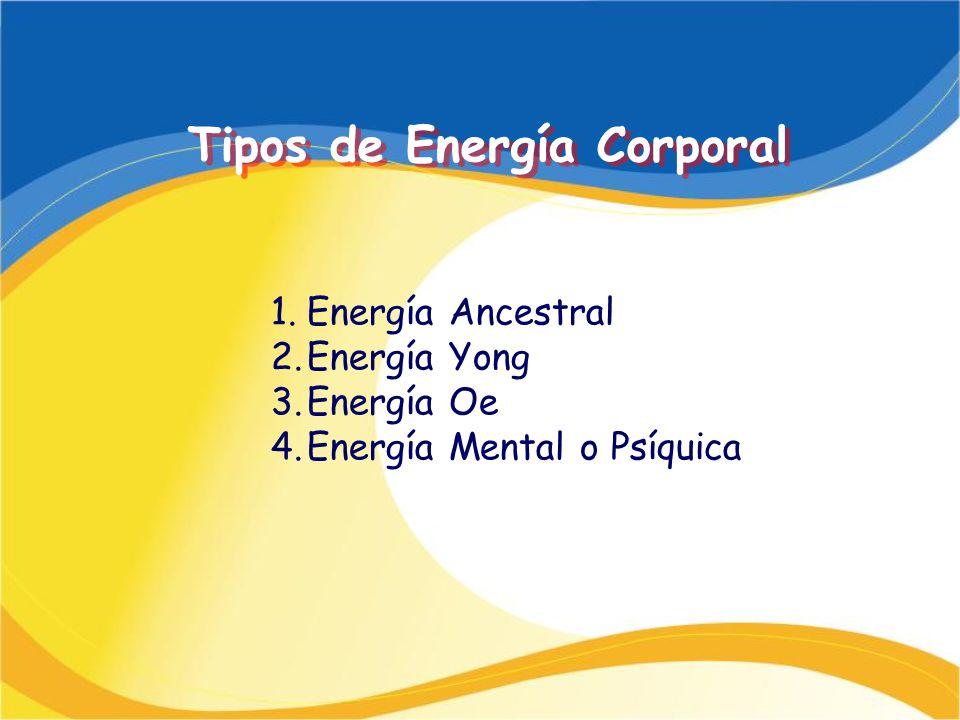 Tipos de Energía Corporal 1.Energía Ancestral 2.Energía Yong 3.Energía Oe 4.Energía Mental o Psíquica