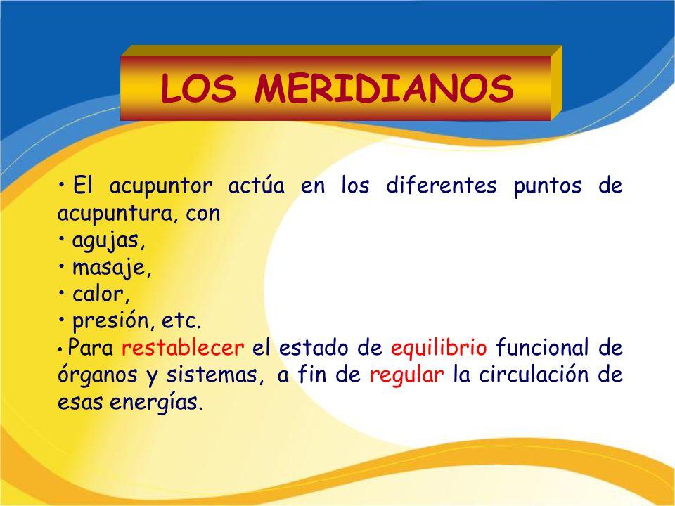 El acupuntor actúa en los diferentes puntos de acupuntura, con agujas, masaje, calor, presión, etc. Para restablecer el estado de equilibrio funcional
