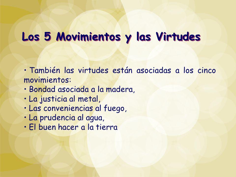 También las virtudes están asociadas a los cinco movimientos: Bondad asociada a la madera, La justicia al metal, Las conveniencias al fuego, La pruden