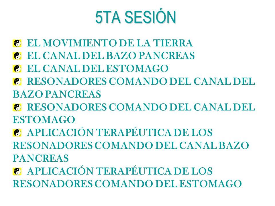 5TA SESIÓN EL MOVIMIENTO DE LA TIERRA EL CANAL DEL BAZO PANCREAS EL CANAL DEL ESTOMAGO RESONADORES COMANDO DEL CANAL DEL BAZO PANCREAS RESONADORES COM