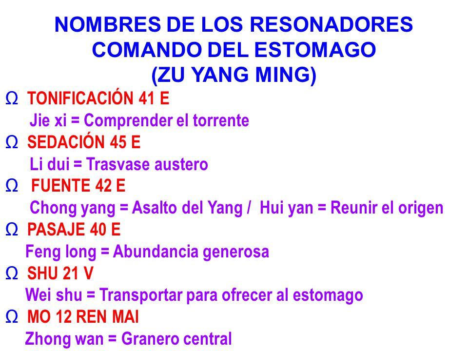 NOMBRES DE LOS RESONADORES COMANDO DEL ESTOMAGO (ZU YANG MING) TONIFICACIÓN 41 E Jie xi = Comprender el torrente SEDACIÓN 45 E Li dui = Trasvase auste