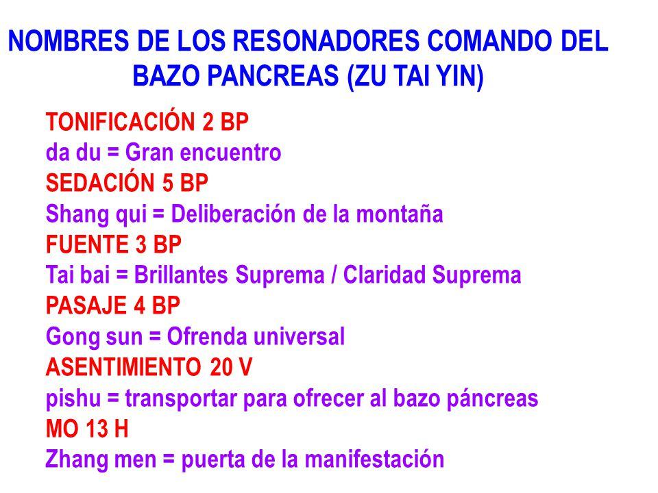 NOMBRES DE LOS RESONADORES COMANDO DEL BAZO PANCREAS (ZU TAI YIN) TONIFICACIÓN 2 BP da du = Gran encuentro SEDACIÓN 5 BP Shang qui = Deliberación de l