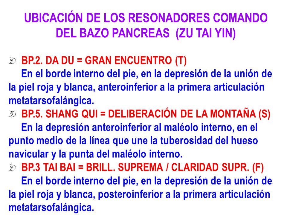 UBICACIÓN DE LOS RESONADORES COMANDO DEL BAZO PANCREAS (ZU TAI YIN) BP.2. DA DU = GRAN ENCUENTRO (T) En el borde interno del pie, en la depresión de l