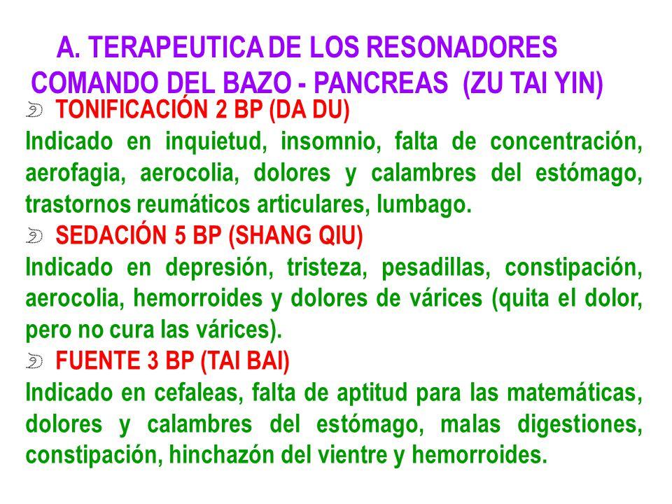A. TERAPEUTICA DE LOS RESONADORES COMANDO DEL BAZO - PANCREAS (ZU TAI YIN) TONIFICACIÓN 2 BP (DA DU) Indicado en inquietud, insomnio, falta de concent