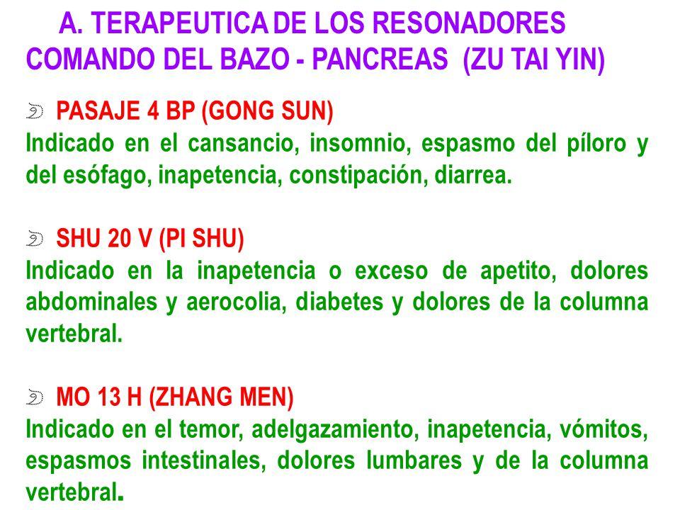 A. TERAPEUTICA DE LOS RESONADORES COMANDO DEL BAZO - PANCREAS (ZU TAI YIN) PASAJE 4 BP (GONG SUN) Indicado en el cansancio, insomnio, espasmo del pílo