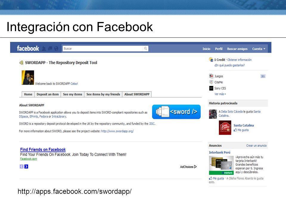 Integración con Facebook http://apps.facebook.com/swordapp/