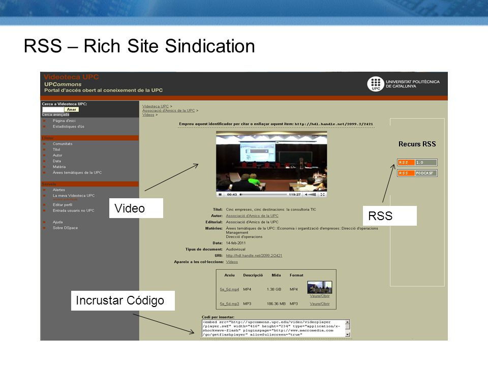 RSS – Rich Site Sindication RSS Incrustar Código Video