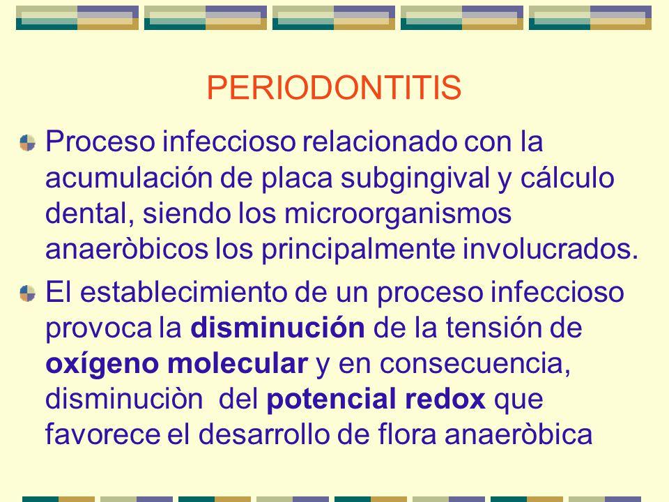 PERIODONTITIS Bacterias anaeróbicas gramnegativas Bacterias, como los estreptococos bucales (aeróbicos), consumen grandes cantidades de oxígeno y generan un bajo potencial de redox (oxidorredución) en su medio.