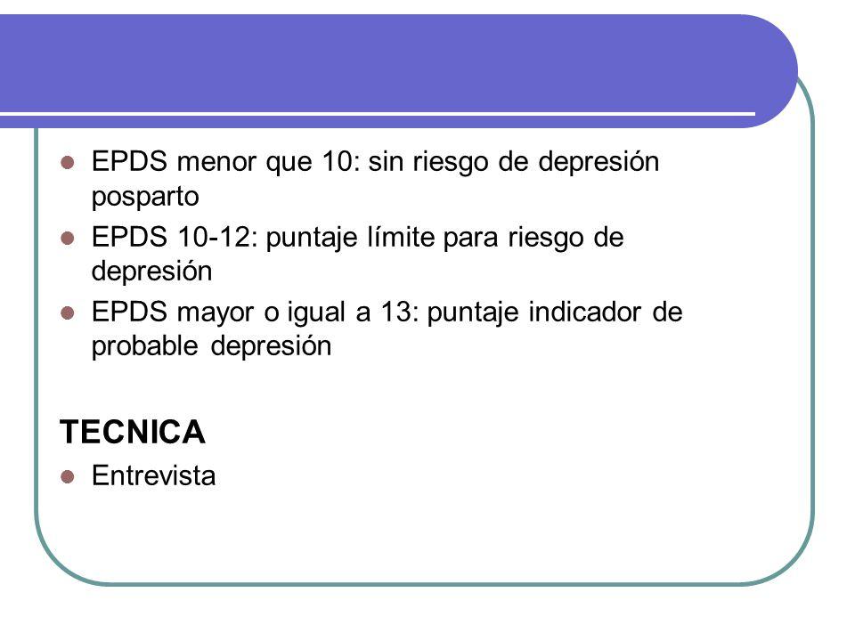 EPDS menor que 10: sin riesgo de depresión posparto EPDS 10-12: puntaje límite para riesgo de depresión EPDS mayor o igual a 13: puntaje indicador de probable depresión TECNICA Entrevista