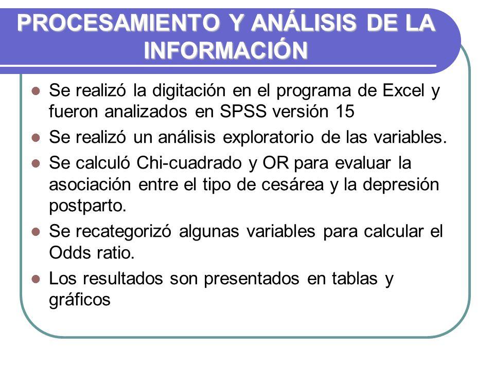PROCESAMIENTO Y ANÁLISIS DE LA INFORMACIÓN Se realizó la digitación en el programa de Excel y fueron analizados en SPSS versión 15 Se realizó un análisis exploratorio de las variables.