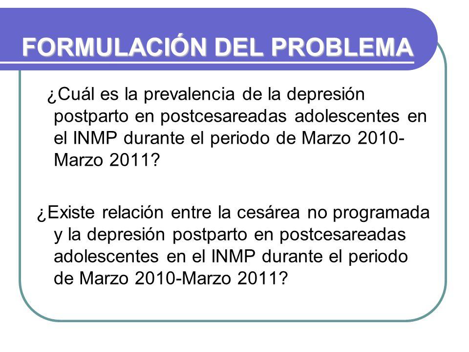 FORMULACIÓN DEL PROBLEMA ¿Cuál es la prevalencia de la depresión postparto en postcesareadas adolescentes en el INMP durante el periodo de Marzo 2010- Marzo 2011.