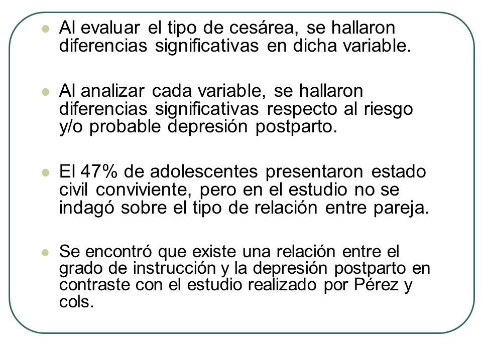 Al evaluar el tipo de cesárea, se hallaron diferencias significativas en dicha variable.