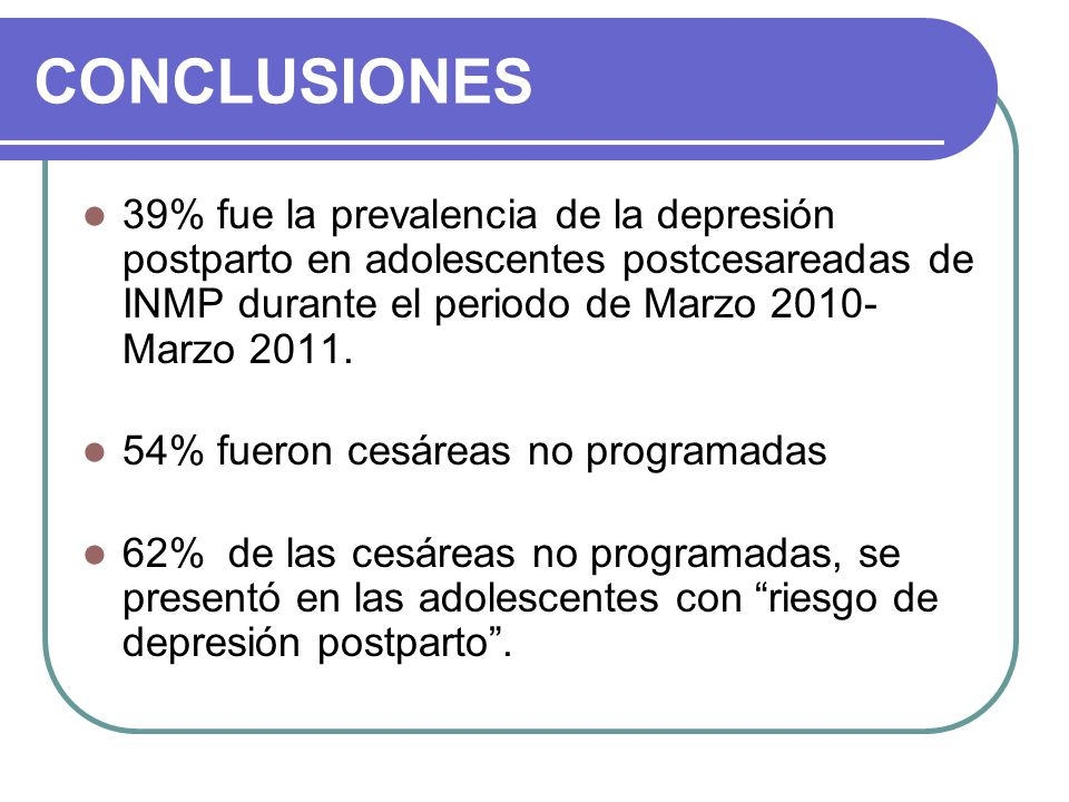 CONCLUSIONES 39% fue la prevalencia de la depresión postparto en adolescentes postcesareadas de INMP durante el periodo de Marzo 2010- Marzo 2011.
