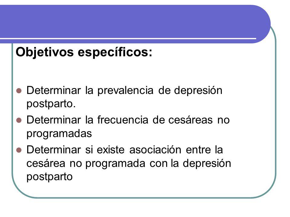Objetivos específicos: Determinar la prevalencia de depresión postparto.